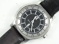 BVLGARI SOLOTEMPO BLACK DIAL / STRAP LADIES WATCH ST29S * GOOD WORKING