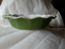 """Pie Plate Dish Emile Henry for Williams Sonoma, 10"""" Green Ceramic, France"""