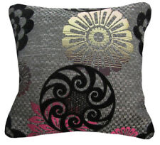 Qb303aa Fuschia Red Black Grey Linen Blend Flower Cushion Cover/Pillow Case Size