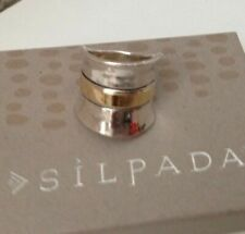 Silpada Sterling Silver R1810 9K Gold Wide Band RARE Ring Size 10 GORGEOUS