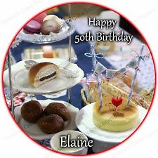 Personalised Afternoon Tea & Cakes Party Edible Icing Birthday Cake Topper