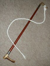 Antique Gents Hunting Whip - H/m Silver Collar B'ham 1900 & Plaited Leather Lash