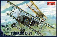 FOKKER D VI - WW I FIGHTER (KAISERLICHE LUFTWAFFE MKGS W/LOZENGE) 1/72 RODEN
