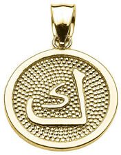 "14k Yellow Gold Arabic Letter""kaaf"" K Initial Charm Pendant"