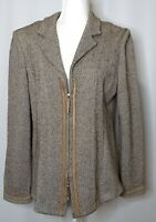 St John Collection Herringbone Zip Front Jacket Size 12 Shoulder Pads Knit Brown