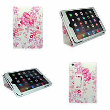 CASE FOR APPLE IPAD 2 3 4 WHITE MULTI PINK FLOWER DESIGN PRINT PU LEATHER COVER