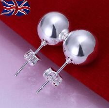 925 Sterling Silver Ball Pearl Stud Earrings 8mm Round Butterfly Back UK