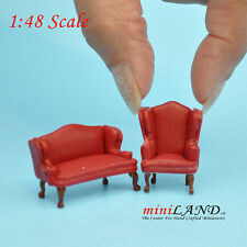 """1:48 1/4"""" quarter scale Queen Anne Leather Sofa /wing chair set RED Dollhouse"""