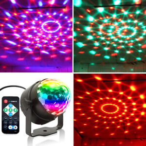 RGB LED Stage Lamps Crystal Ball Sound Control Laser Light Party Disco Lig BaYH