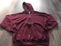 Jerzees Men's Size Medium Maroon Wine Hoodie Full-Zip Work Jacket