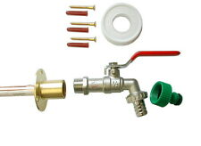 Lever Outdoor / Outside Tap Kit | Through Wall Flange and Garden Hose Fitting