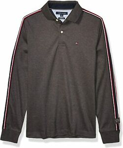 Tommy Hilfiger Men's B65 Heather Gray Logo Taping Slim Fit Long Sleeve Polo