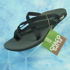 New CHACO Tempest Cloud Womens 8 EUR 39 Black Strappy Toe Loop Comfort Sandals