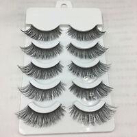 5 Pairs Cross False Eyelashes Makeup Soft Long Thick Eye Lashes Nautral Handmade