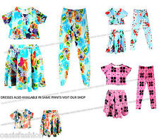 NEW IN GIRLS SUMMER FLORAL PRINT CROP TOP/LEGGINGS/SKATER SKIRTS AGES 7 -13
