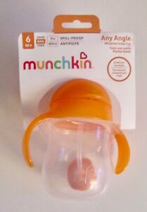 Munchin Spill-Proof Weighted Flexi-Straw Cup 7oz Orange 6M+