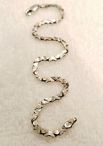 """Etched FAS Italy 925 Stering Silver Bracelet 7.25"""" 4.6g..jump ring need repair"""