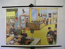 schöne alte Schulwandkarte Postamt Office Postman Geschenk 90x64cm vintage 1968