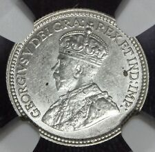 1912 Canada Five 5 Cents Silver Coin - NGC MS 61 - KM# 22