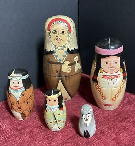Set 5 Hand-Painted Native American Matryoshka Nesting Dolls by Authentic Brands
