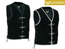 Mens Motorcycle Biker Black Suede Leather Vest Waistcoat Spanish Braid & Clasps