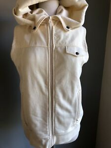 Burton Cream/Off White Snowboard Hooded Vest- Sz.Medium
