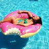 Bouée tapis de sol gonflable Donut pour piscine plage diversion (120 cm)