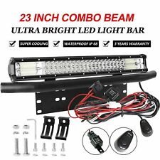 23 inch Tri Row LED Light Bar Spot Flood Beam + Number Plate Frame + Wiring Kit