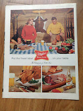 1960 Miller High Life Beer Ad Couple Cooking at the Hunting Fishing Cabin