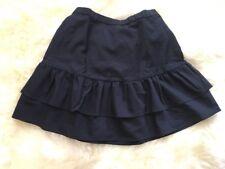 New J Crew Wool Flannel Ruffle Skirt Vintage Indigo Sz 4 G7119