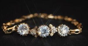 Vintage Design Created Diamond 3 Flower Rose Gold GF Bracelet 18cm / 7.08 inches
