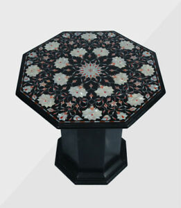 """24"""" Marble Table Top Semi precious stones Work With 18"""" Marble Stand"""