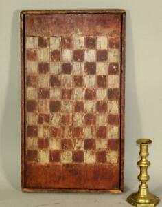 RARE 18TH CENTURY PAINTED CHECKERBOARD GAME BOARD ORIGINAL RED AND WHITE PAINT