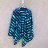 Jones New York Woman Open Front Shawl Jacket Teal Blue Aqua Stripe Flowy Plus 2X