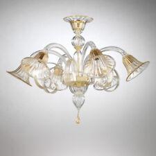 Titano plafonnier en verre de Murano 6 lumières cristal or