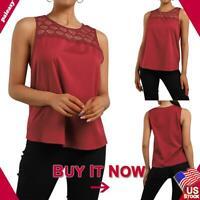 US Women Sleeveless Lace Blouse T-Shirt Ladies Summer Casual Top Tank Shirt Size