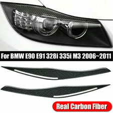 Carbon Fiber Headlight Eyebrow Eyelid Covers For BMW E90/E91 328i 335i 2006-2011