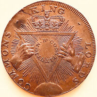 """1795/1795-Sise Lane-Half Penny-""""King~Lord Commons~Constitution""""-English Tokens"""