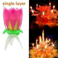 Flower Candle Birthday Musical Rotating Cake Candles Music T1Y5