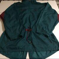 Vintage Reebok Women's Large Windbreaker Jacket  Blacktop Hidden Hoodie Vent