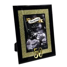 "50th Birthday Gold Glitter Glass Photo Frame 4"" X 6"" Fg50250"