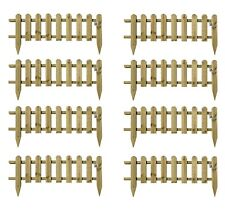 More details for large wooden panel picket fencing wood garden edging path drive border fence 8pc