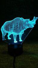 3D Dinosaur Usb 5 Color Changing Led Night Light Desk Table Lamp Outlet adapter