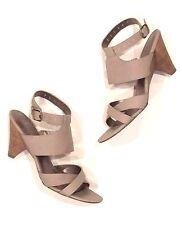 Belle Sigerson Morrison Pebble Gray Leather Ankle Strap Mid Heel Sandals 7 - 7.5