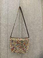 Vtg 60s 70s Groovy Hippy Boho Colorful Plastic Beaded Shoulder Bag Purse Satchel