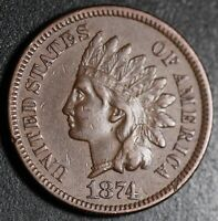 1874 INDIAN HEAD CENT With LIBERTY - XF EF