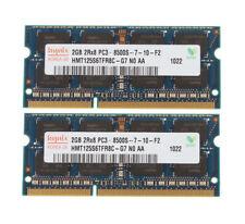 Hynix 4GB 2x 2GB PC3-8500 2Rx8 1.5V DDR3 1066Mhz RAM SODIMM 2 GB de memoria portátil