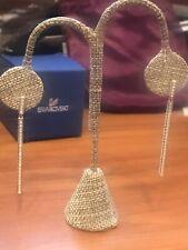 New $169 Swarovski Drop Pierced Earrings Golden #5292400