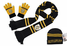 4bcfffb0bc044 Harry Potter Hufflepuff Knit Scarf+Cap Beanie Hat+Gloves Soft Warm Costume