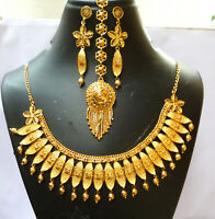 22K Gold Plated Indian Wedding Stunning Necklace Earrings 9'' Bridal Set tikka c